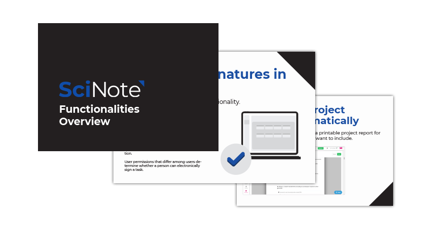 SciNote functionalities overview PDF preview
