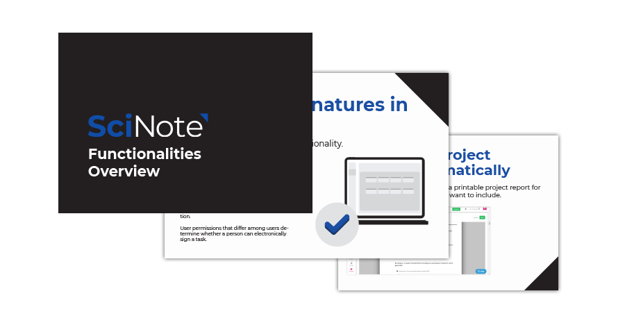 SciNote Functionalities overview