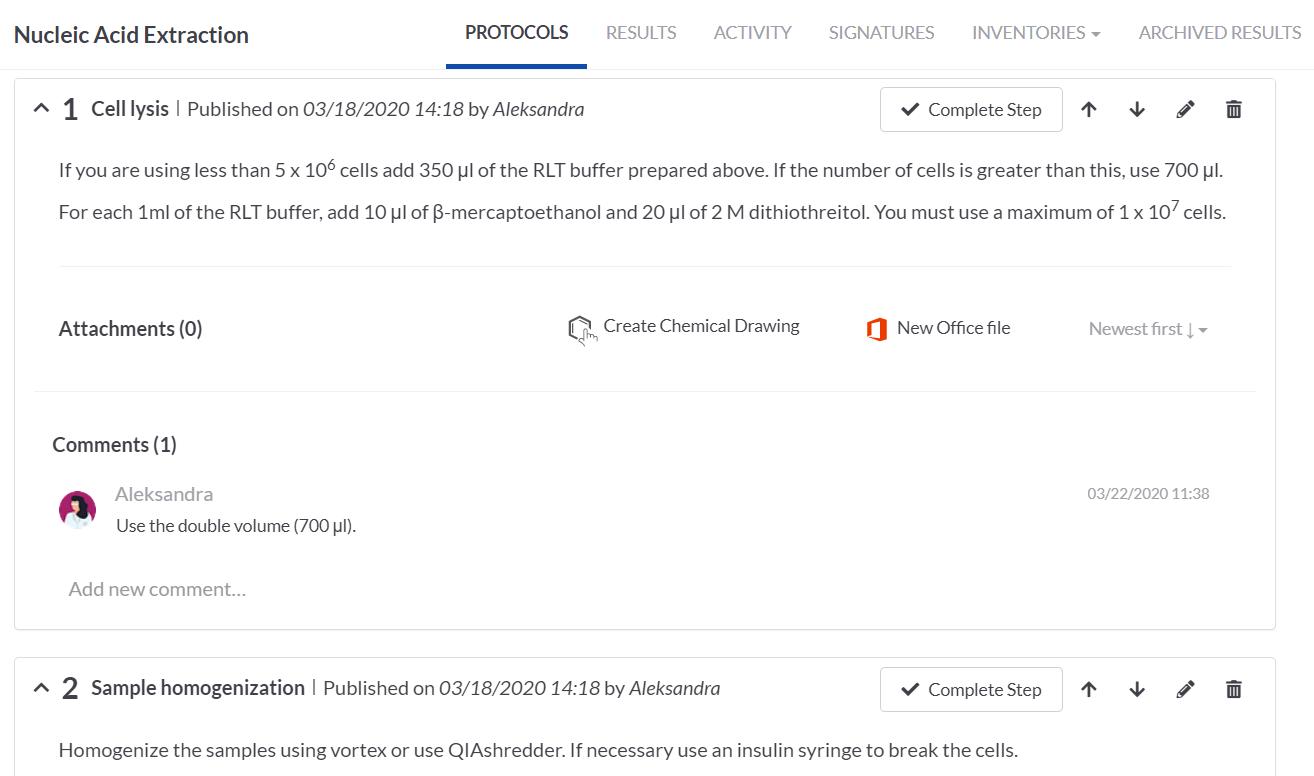 COVID 19 ELN protocol workflow