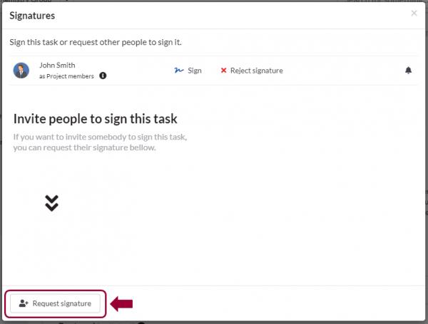 request a signature