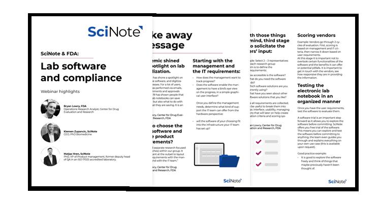 SciNote & FDA workbook