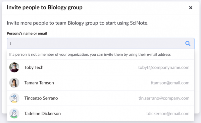 Invite users to SciNote